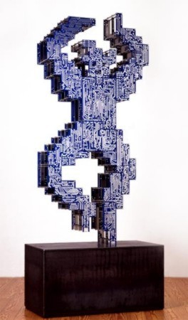 """Circiut Dancer 2"", Petrus Wandrey 1986, Leiterplatten, cut-out-Edelstahl, Cortenstahl, 238x144x50 cm"