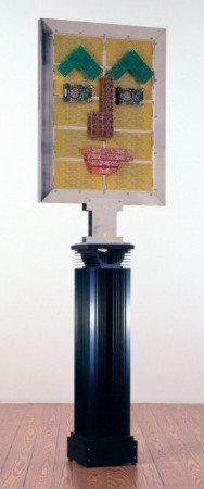 """Data-Guardian 1"", Petrus Wandrey 1994, Leiterplatten, Hard-Disk, Kühlkörper, V2A-Stahl, 244,3x75x30 cm"